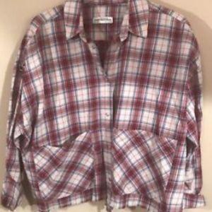 Zara Plaid Crop Long Slv Button Down Shirt Sz Smal